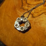 9mm Stainless Steel Revolver Pendant with lear Swarovski Crystals