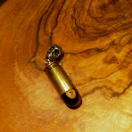 Tiger Eye  Brass .45 ACP Skull Bail Pendant